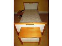 Quality child's single bed with matching drawers, cupboard (inc. mattress)