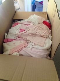 Box of various baby girl clothes 0-3 months