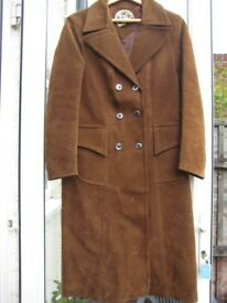 Vintage Tan Brown Suede-look Knee Length Coat