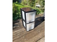 Black Plastic Storage Boxes With Clear Trays - ALL IN GOOD CONDITION