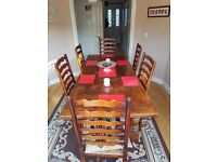 Antique Solid Hard Wood/Oak Dining Table - Six Seater (7' x 3')