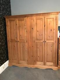 Large solid pine wardrobe chest of drawer and mirror