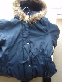 Blue Zoo (Debenhams) – Dark Blue Girls Parka Coat Jacket With Hood –age 11-12