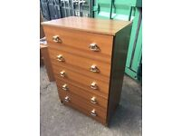 Tall Debenhams five drawer chest in great condition