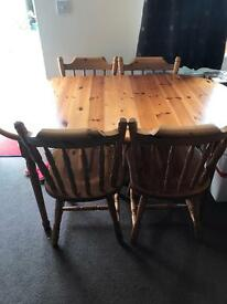 Pine extending table & 4 chairs