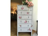 Tall boy chest of drawers - vintage chic - gorgeous!