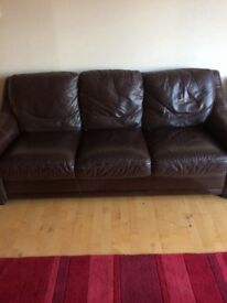 3 & 2 seater brown leather sofa