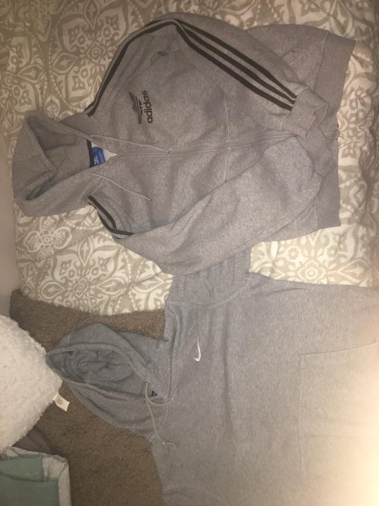 Nike and Adidas jacket and hoodie.
