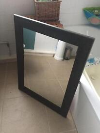 Large wooden mirror with faux leather 85cm x 65cm