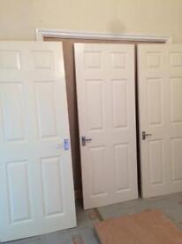 3 interior 6 panel doors in good usable order