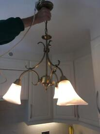 Brass Effect Chandelier Type Light Fitting (+ installation)