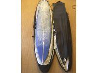 "Gulf Stream custom made 7'4"" pin tail gun + Bags + Accessories"