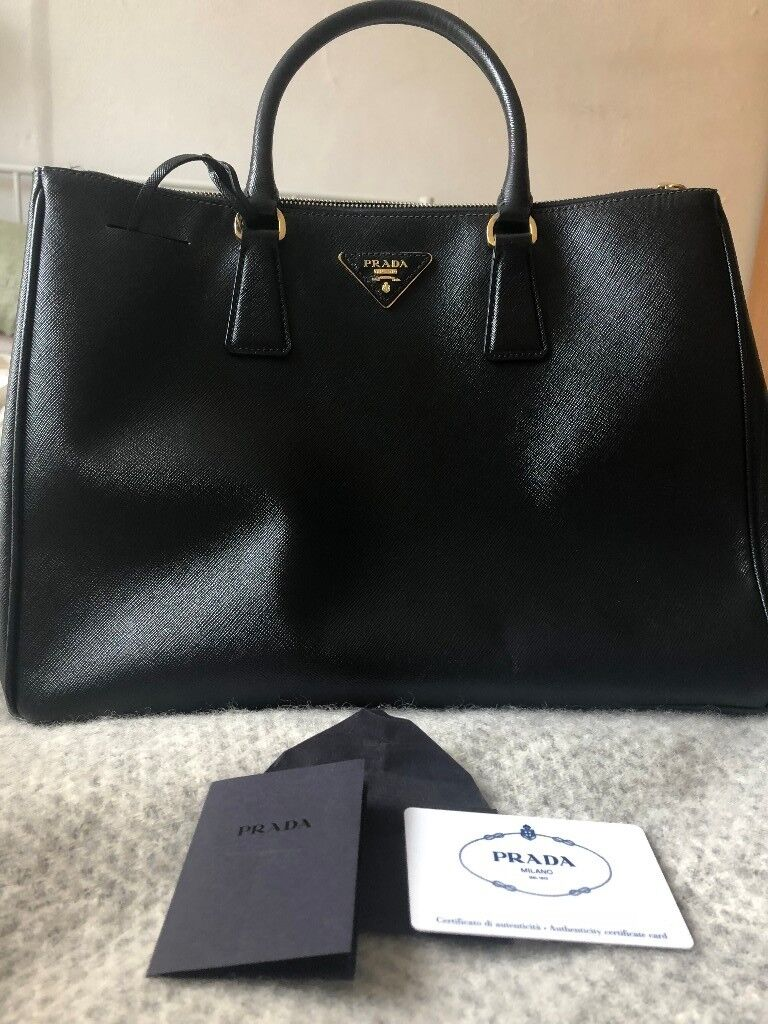 ... hot prada saffiano lux black nero double zip large tote bag bn1786  authenticity card dust 06f68 151bb71fb3