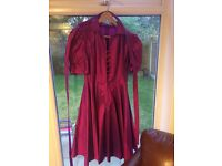 Pure silk dark pink occasion dress by tailor Susan Gillis Brown of Harrogate size 4 (=size 12)