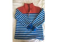 Boys Boden Jumper, blue and white stripe with red trim, age 9-10yrs