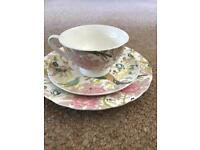 Beautiful floral bone china cup, saucer and cake plate set