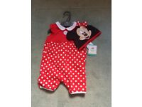 BRAND NEW 3-6 months mothercare Minnie Mouse romper and hat