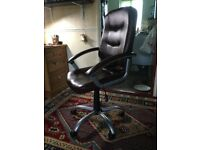 Brown leather desk chair