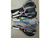 4 short tennis racquets