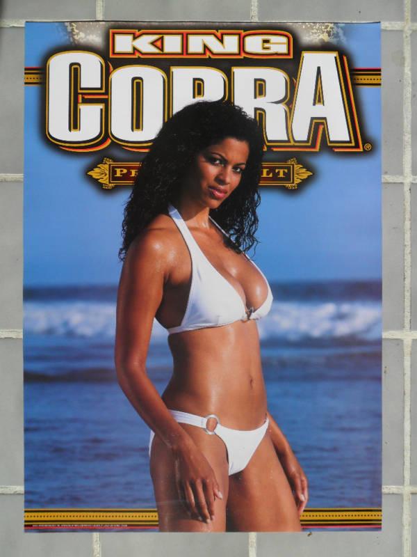 Sexy Girl Beer Poster King Cobra White Bikini