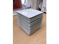 20 square white plates
