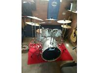 Pearl Forum Series kit plus Zildjian Cymbals and other Extra. May sell separately.