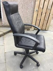 Black leather effect office chair with arms