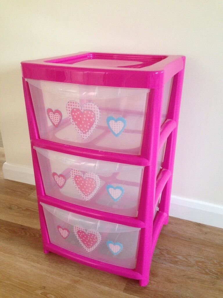 Girls 3 Drawer Plastic Storage Unit With Pink Hearts