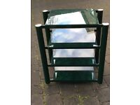 Soundstyle green glass and metal storage shelving stereo table unit