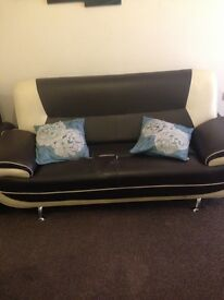 QUICK SALE TODAY ONLY VERY CHEAP LUXURY BROWN LEATHER SOFA