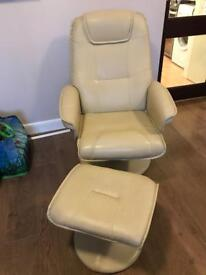 CREAM FAUX LEATHER RECLINER CHAIR AND FOOT STALL