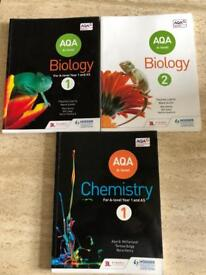 AQA A Level Chemistry and Biology Textbooks