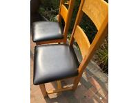 2 x Oak dining chairs