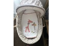 Mamas and Papas Moses Basket with rocking stand and brand new mattress