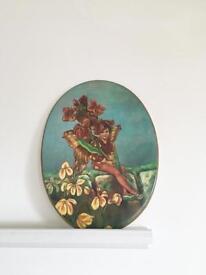 Antique Minton flower fairy plaque