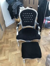 French style chair and foot stool
