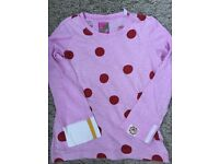 Joules girls pink polka dot long sleeve top, age 9-10