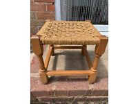 Vintage Pine Footstool Stool Woven wicker Seat Country Rustic Vintage 1970s