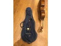 Quarter size cello with case and bow
