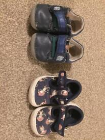 2 pairs of Clarks boys toddler shoes size 3 G