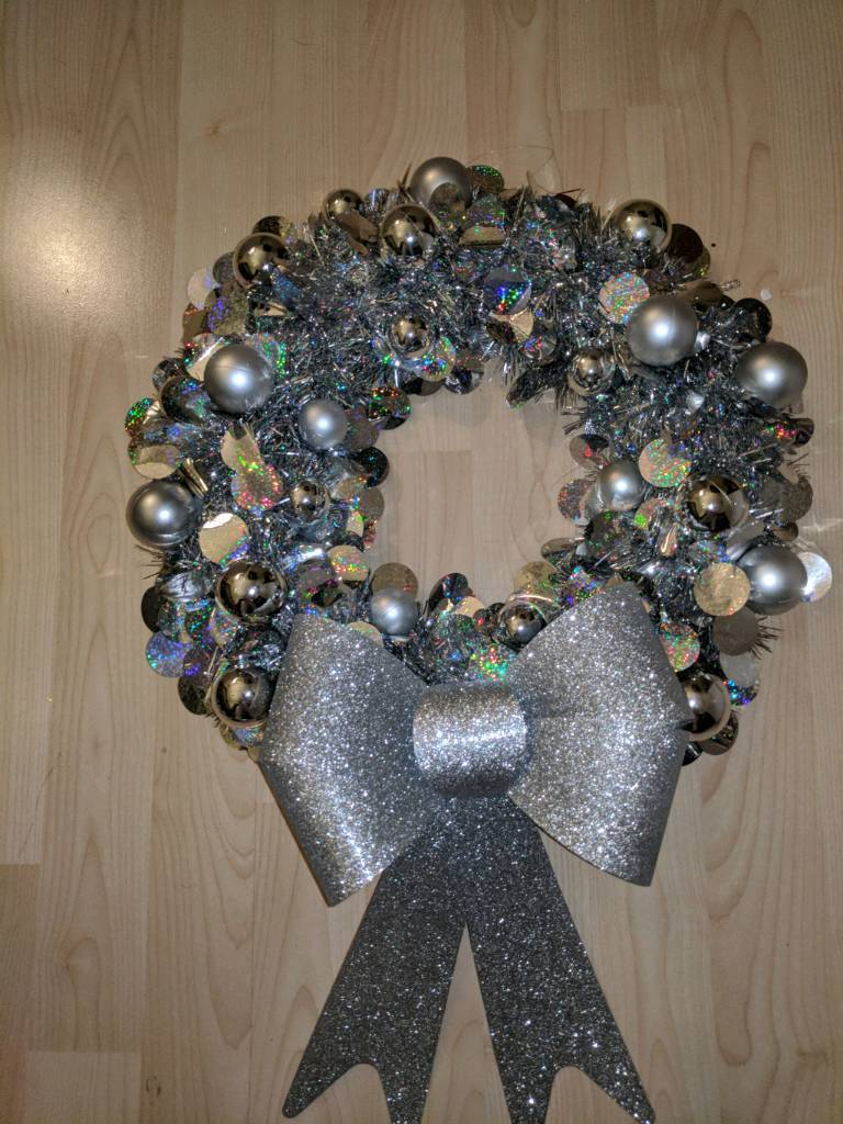 handbmade wreaths with lights + baubles( any colour)& bow,gift wrapped