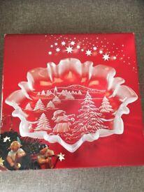 Beautiful Christmas Glass Dish (boxed)