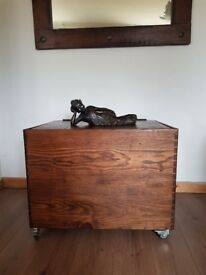 Extra large trunk rustic industrial reclaimed wood. Storage chest/wheels. LOCAL DELIVERY