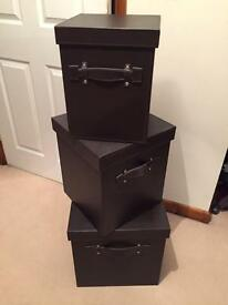 Brown faux leather storage boxes x3 gc