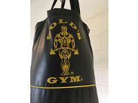Gold's gym punch bag and assorted fitness equipment.