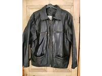 Black Leather Jacket (L) Mens