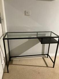 IKEA VITTSJÖ laptop table black-brown/glass 100 cm x 36 cm x 74 cm