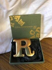 Solid brass letter R