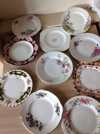 10 x vintage china side plates all different