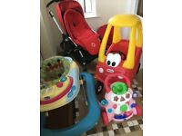 Bugaboo pram 3-in-1, Little Tykes car, Chicco baby steps walker, Chicco baby walker